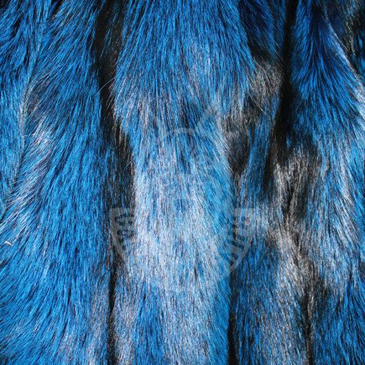 Fox pelt dressed, coloured (Blue)